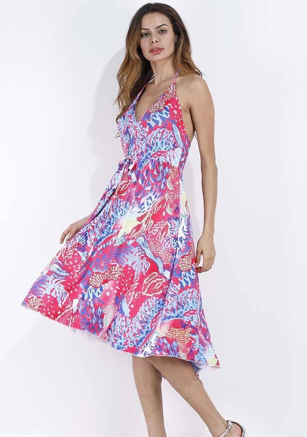 Znu dresses-Floral Printed V Neck Beach Dress Holiday Party ...