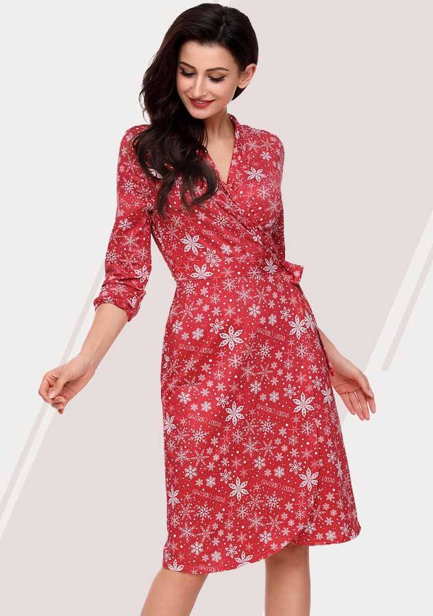 Christmas Floral Printed Belted Tunic Long Sleeves Party Dress
