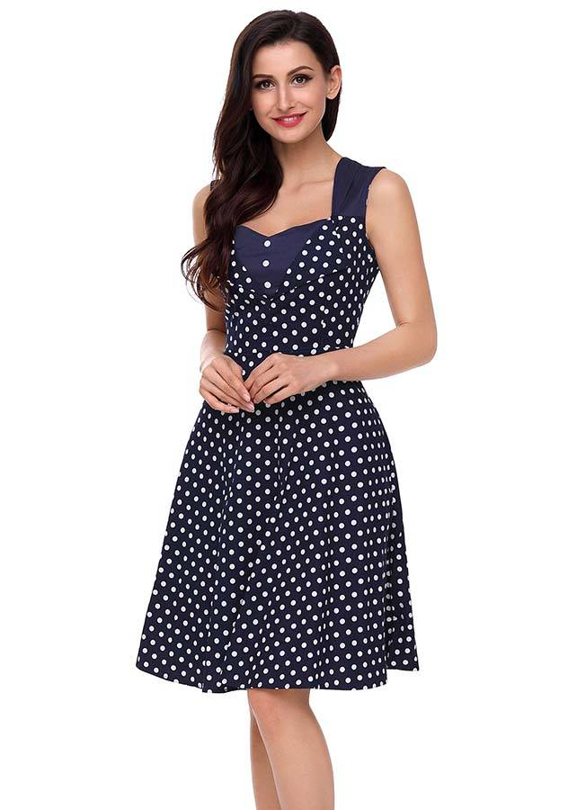 Women Rockabilly Vintage Retro Style Polka Dot Swing Evening Party Dress