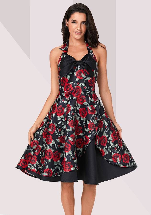 Sexy Rose Print Holiday Cocktail Evening Party Midi Dress