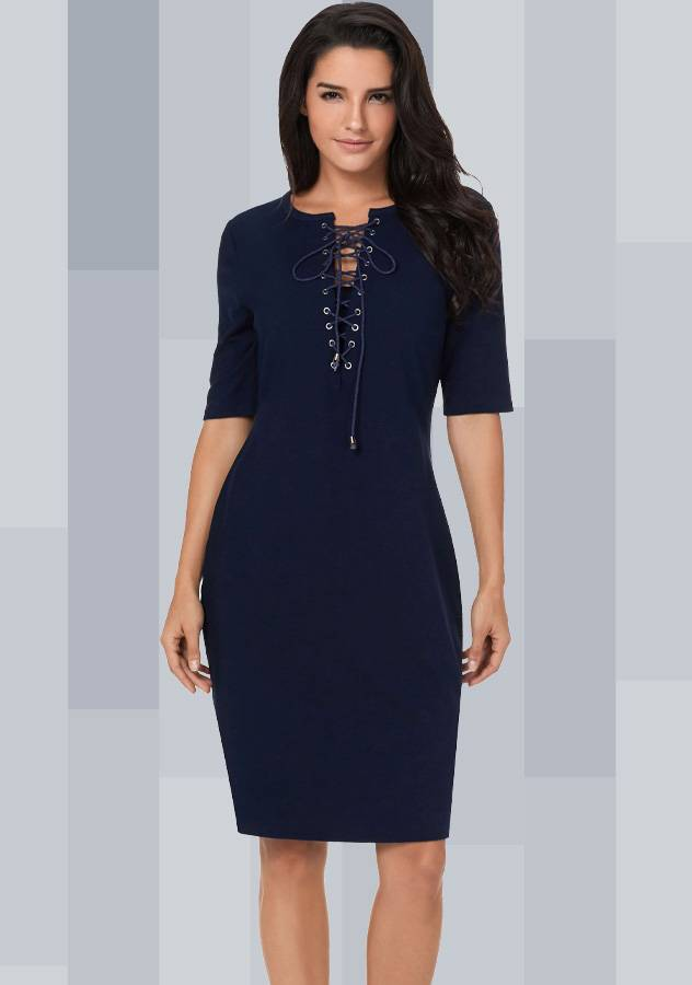 Women Fashion Casual Business Lace Up Hollow V Neck Bodycon Knit Dress