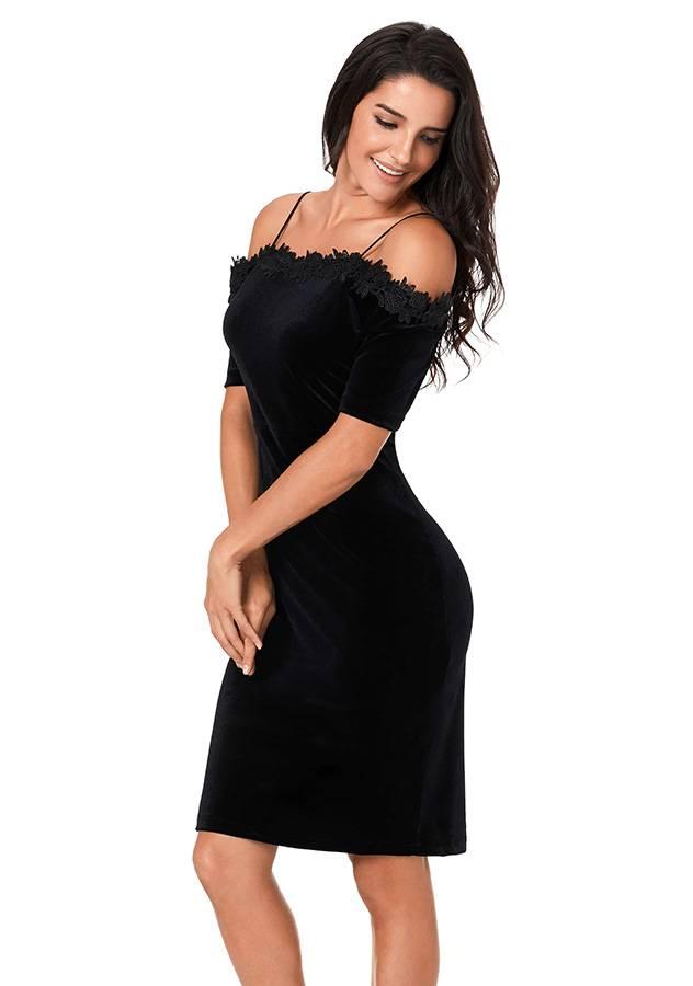 Off Shoulder Black Lace Velour Dress | ZNU