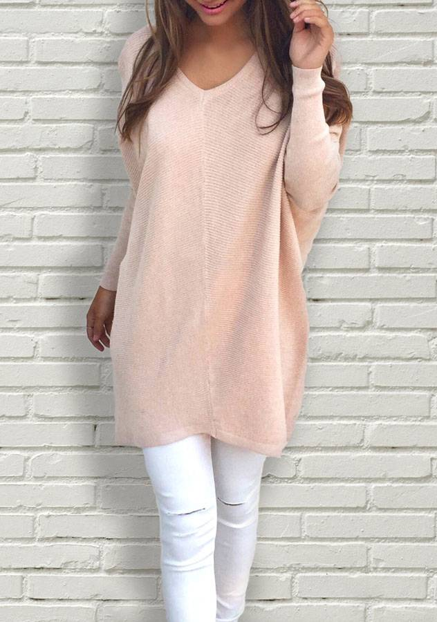 Women V-Neck Long Sleeve Thin Loose Sweater | ZNU.com