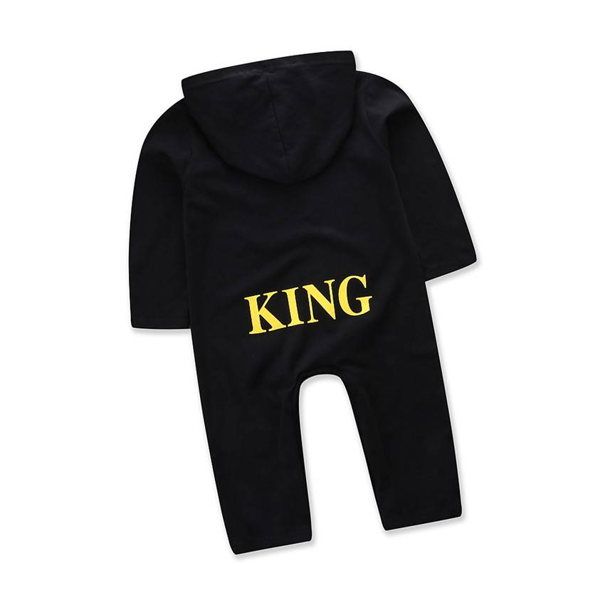 "Newborn Kids Baby Boys ""KING"" Hooded Romper Bodysuit Jumpsuit Clothes Outfits UK"