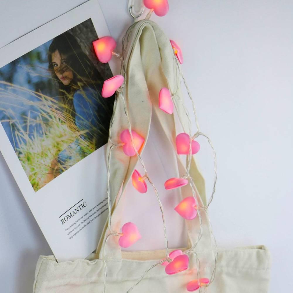 Heart Shaped LED String Light Romantic Satin Lamp Girl's ...