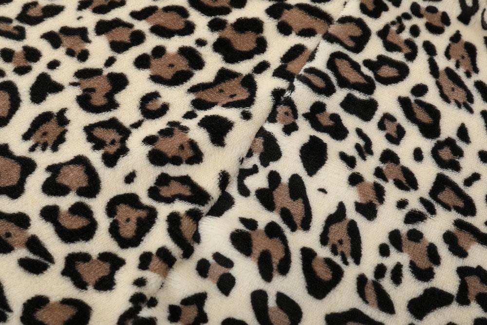 Long sections plush leopard coat-EDLPE