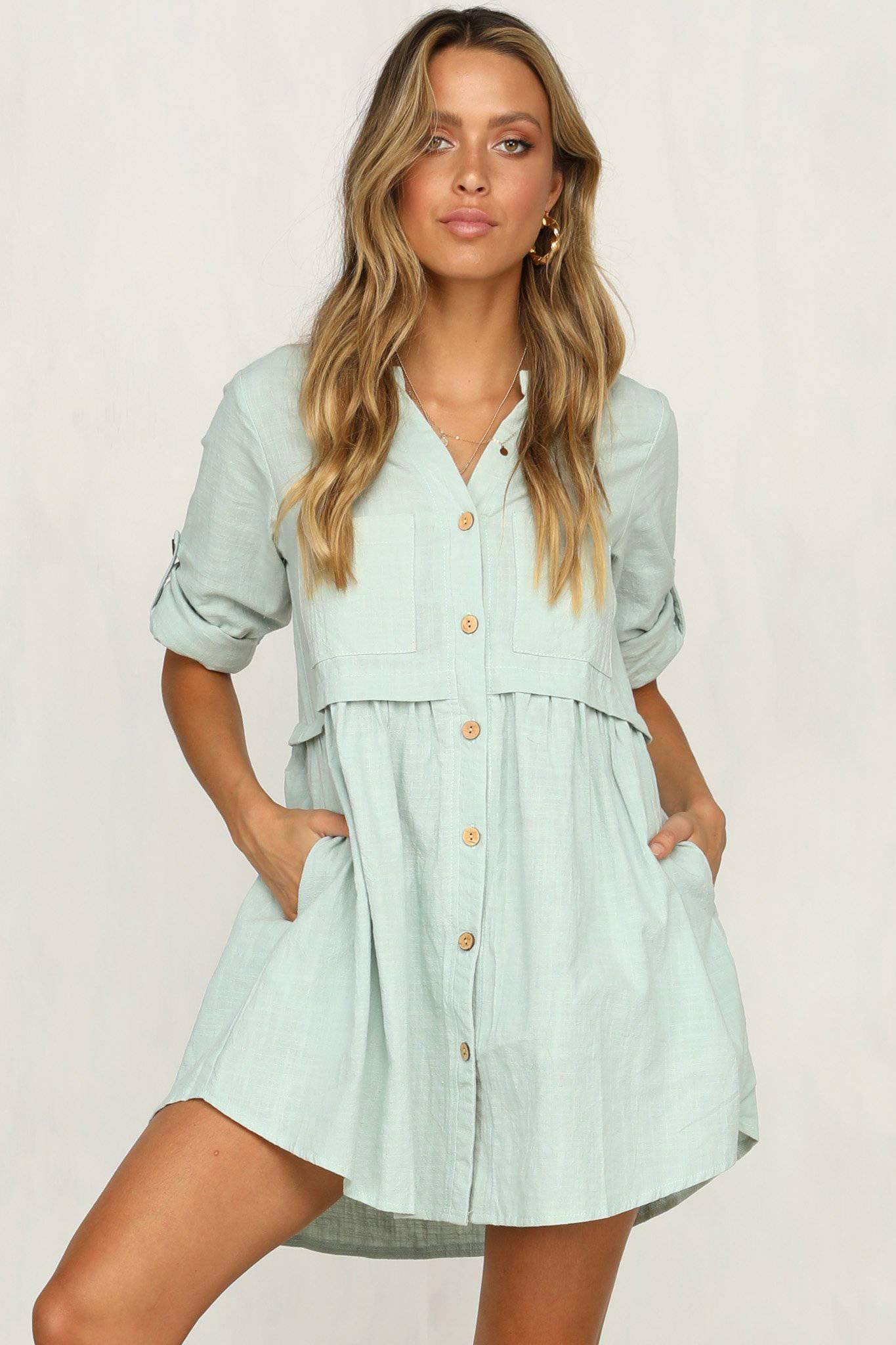 733ab099c89 Details about Women Long Sleeve Plain Tunic T Shirt Dress Ladies V Neck  Button Down Blouse Top