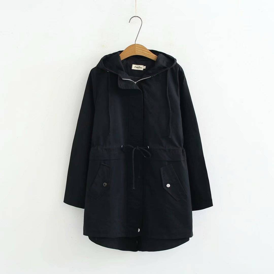 Womens Drawstring Waist Windbreaker Jacket Long Coat Parka