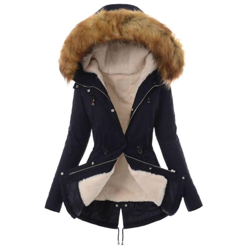 Damen Zip Steppmantel Winterjacke Thermo Perkas Pelz Kapuzenpullover Warm Coat