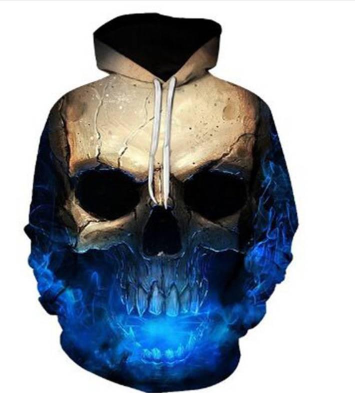 Men Women 3D Skull Skeleton Sweatshirt Hoodies Pullover Long Sleeve Coats Jumper