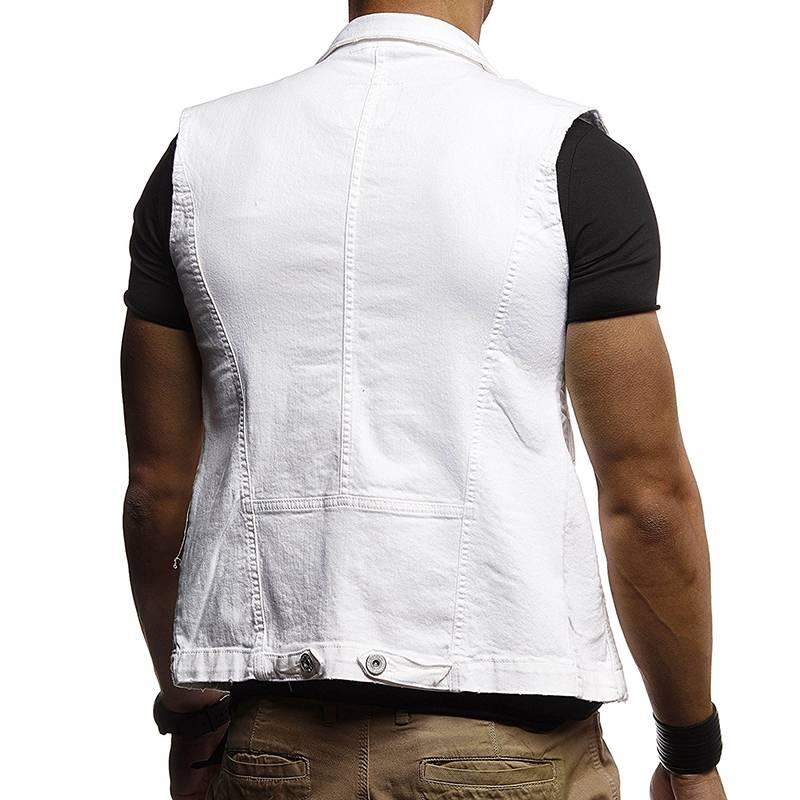 Mens Ripped Jeans Trucker Jacket Waistcoat Sleeveless