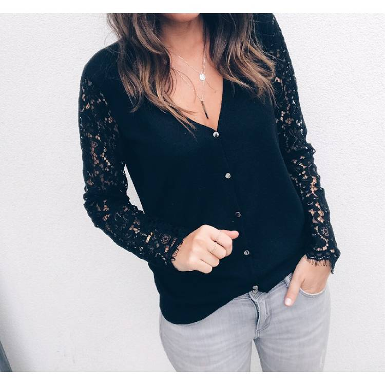 0c9bd5cdfc Sexy Women Lace Tops Long Sleeve V-Neck Casual Blouse T-Shirt ...