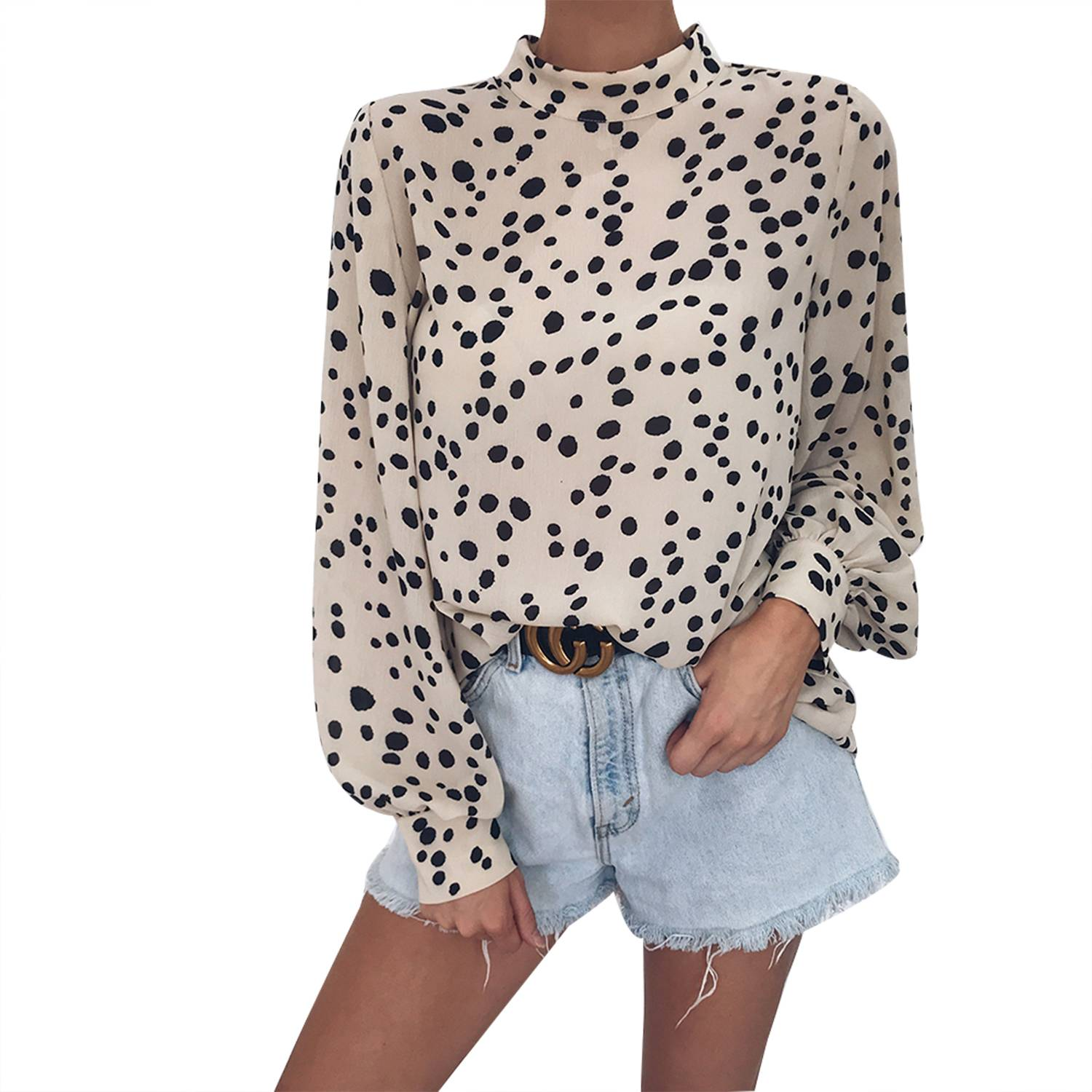 355a49eb247123 Details about Women Long Sleeve Polka Dot T Shirt Tops Summer Loose Casual  Vintage Blouse Tee