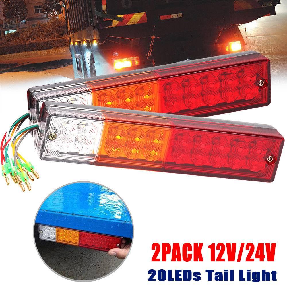 2x 20 LED Trailer Lights bar Red Amber White for Rear Turn Signal Brake Lights