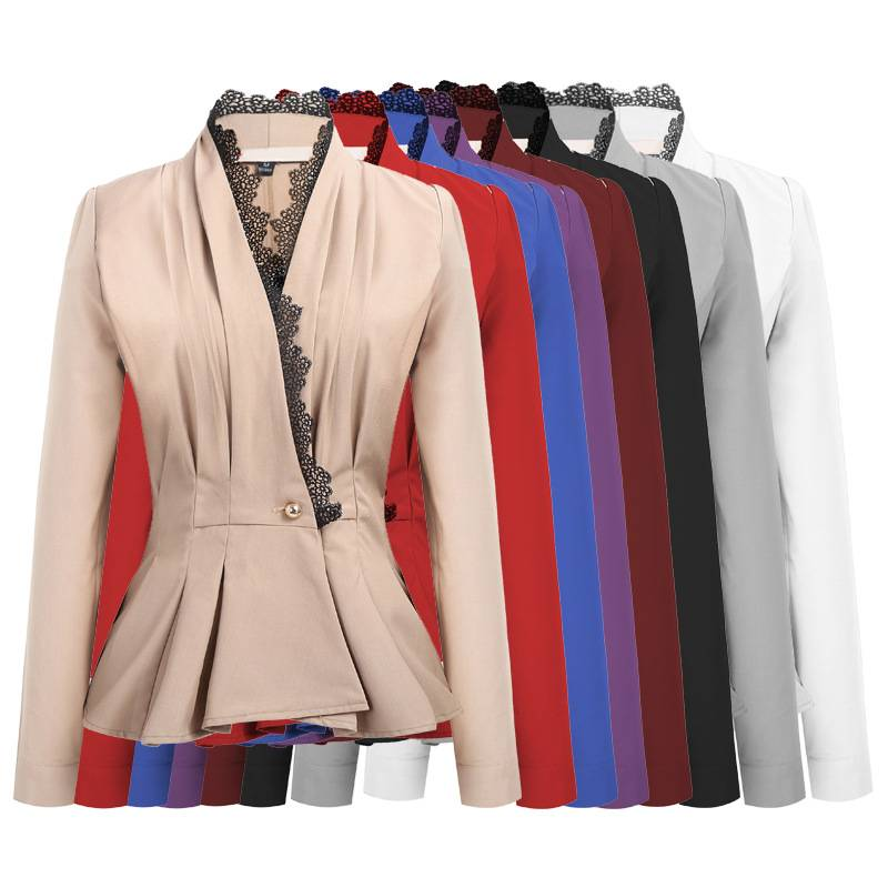 51a80fc05df698 Damen Business Spitze Anzugjacke Blazer Sakko Strickjacke Jacke ...