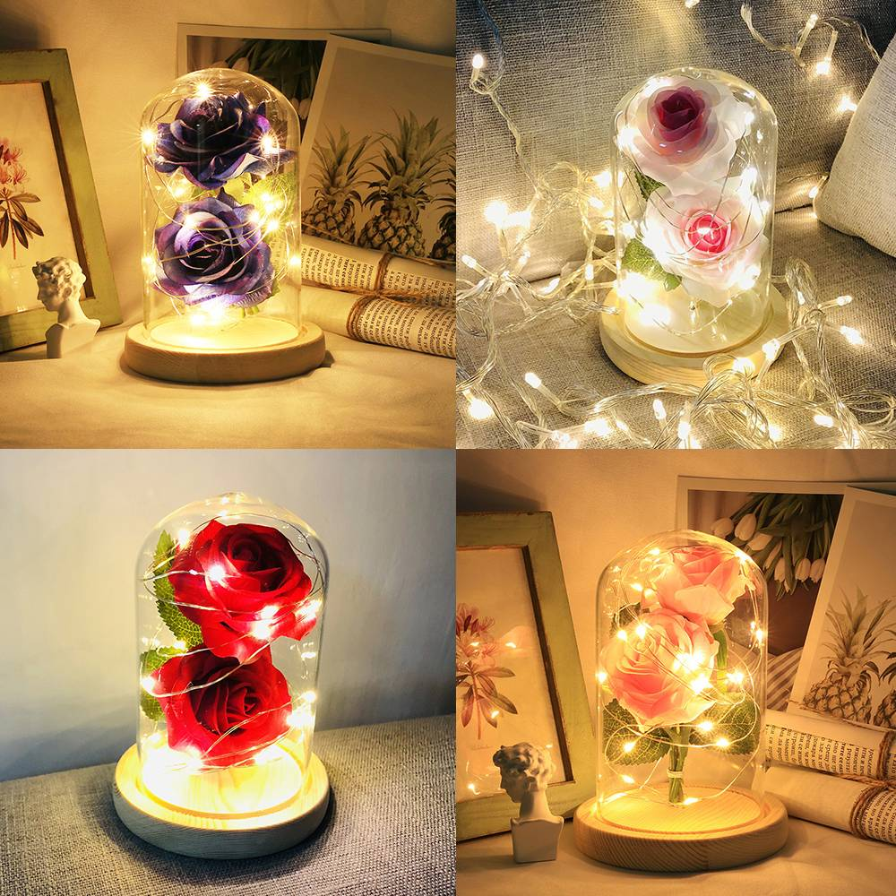 Led Rose Flower String Light Desk Lamp Night Light