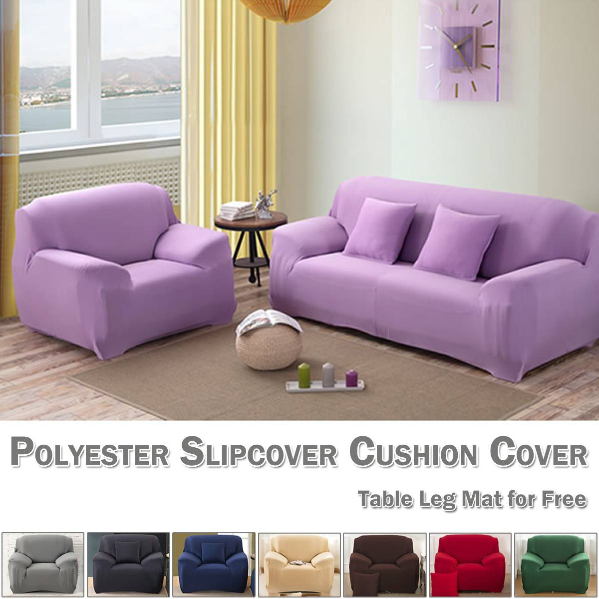 Details about Stretch Elastic Fabric Sofa Slipcover Solid Sectional Corner  Couch Covers Decor
