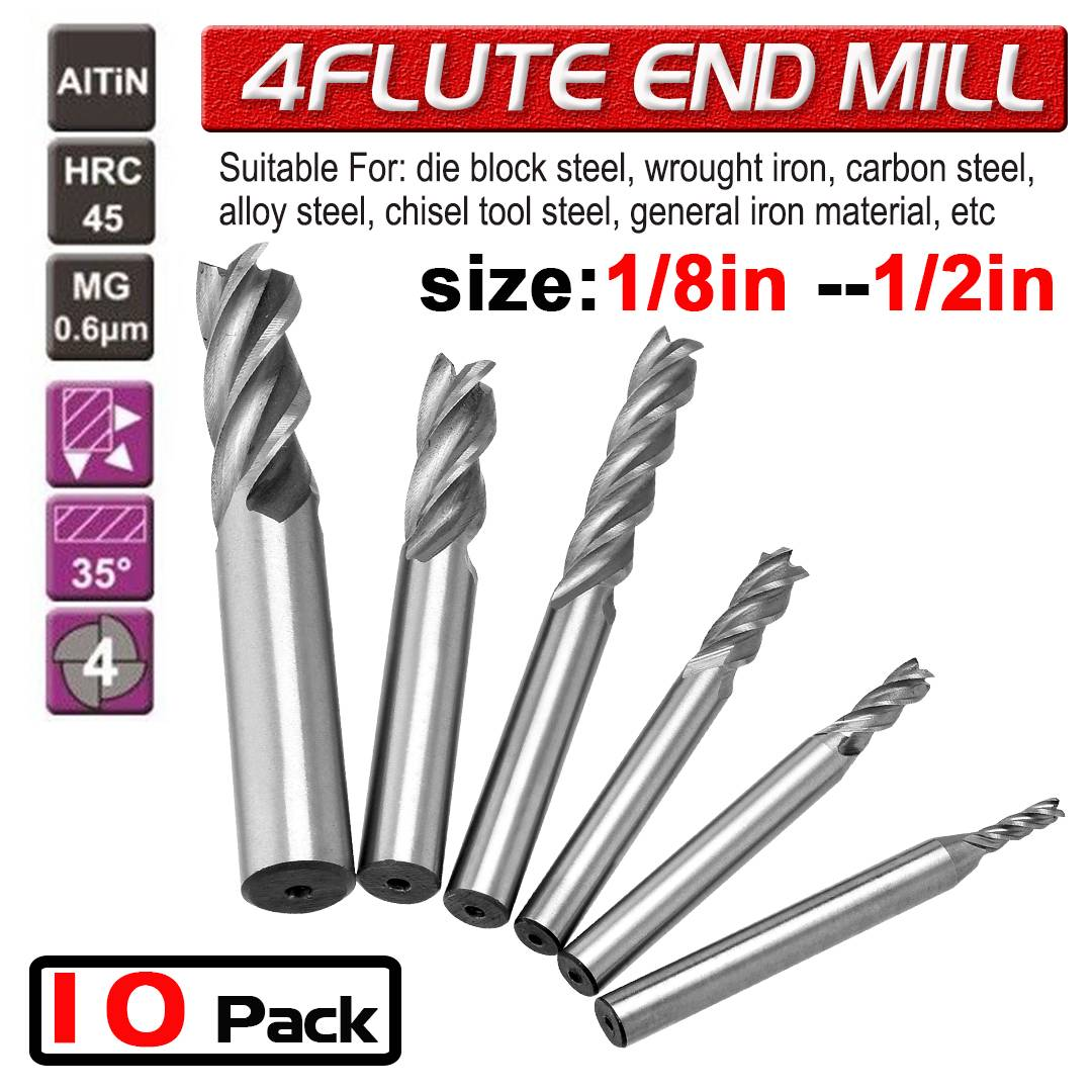 1-16mm Solid Carbide End Mill 4 Flute TiAlN Milling Cutter Slot Drill Bit Tool