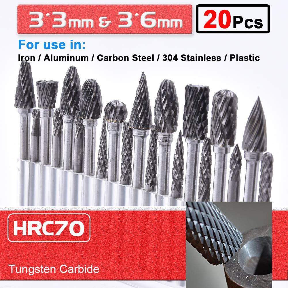 20Pcs Point Burr Die Rotary Burr Drill Bit Shank Tungsten Carbide Set  Grinder