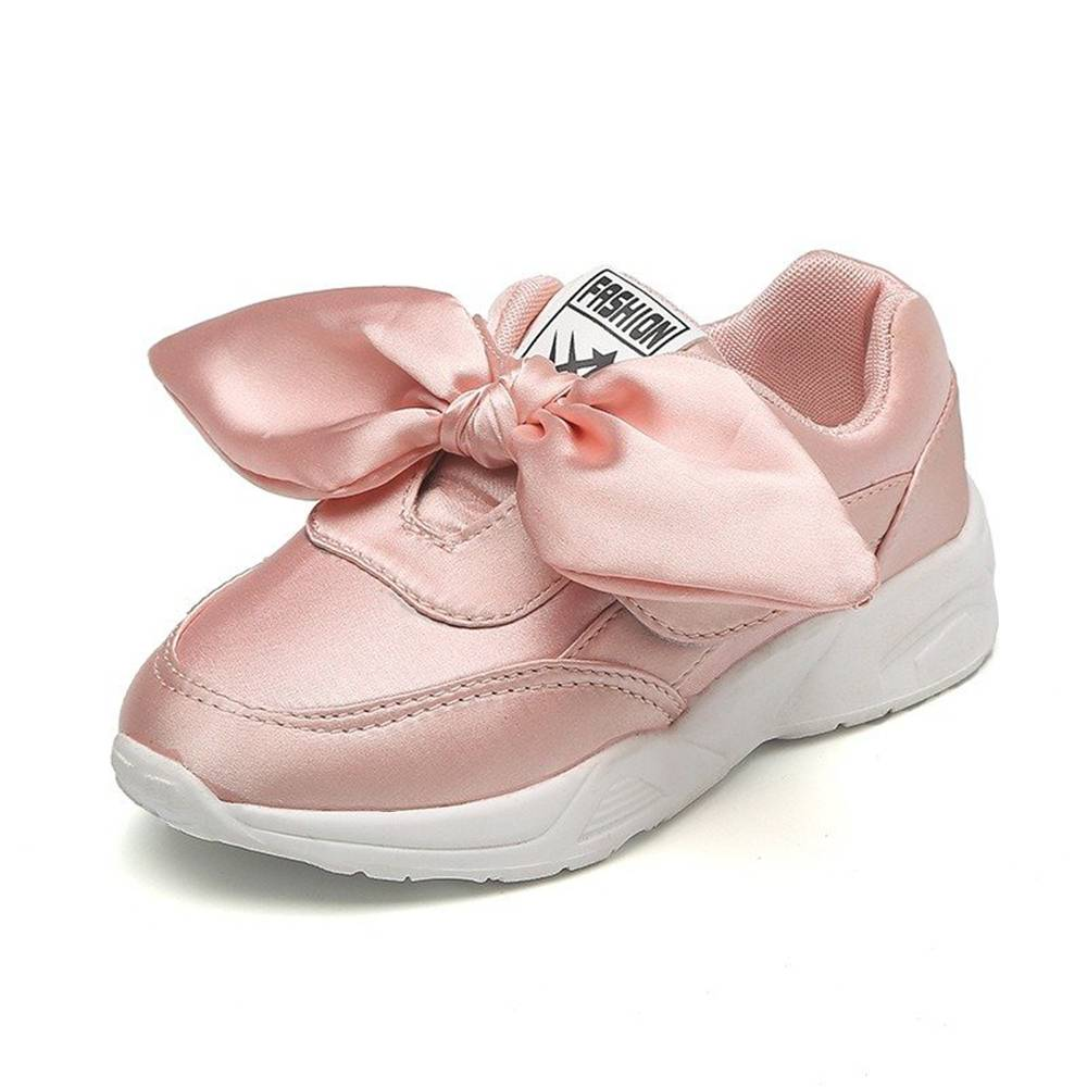 Znu Children Kids Sneakers Girls Silk Bowknot Lovely Fashion Casual Sports Shoes