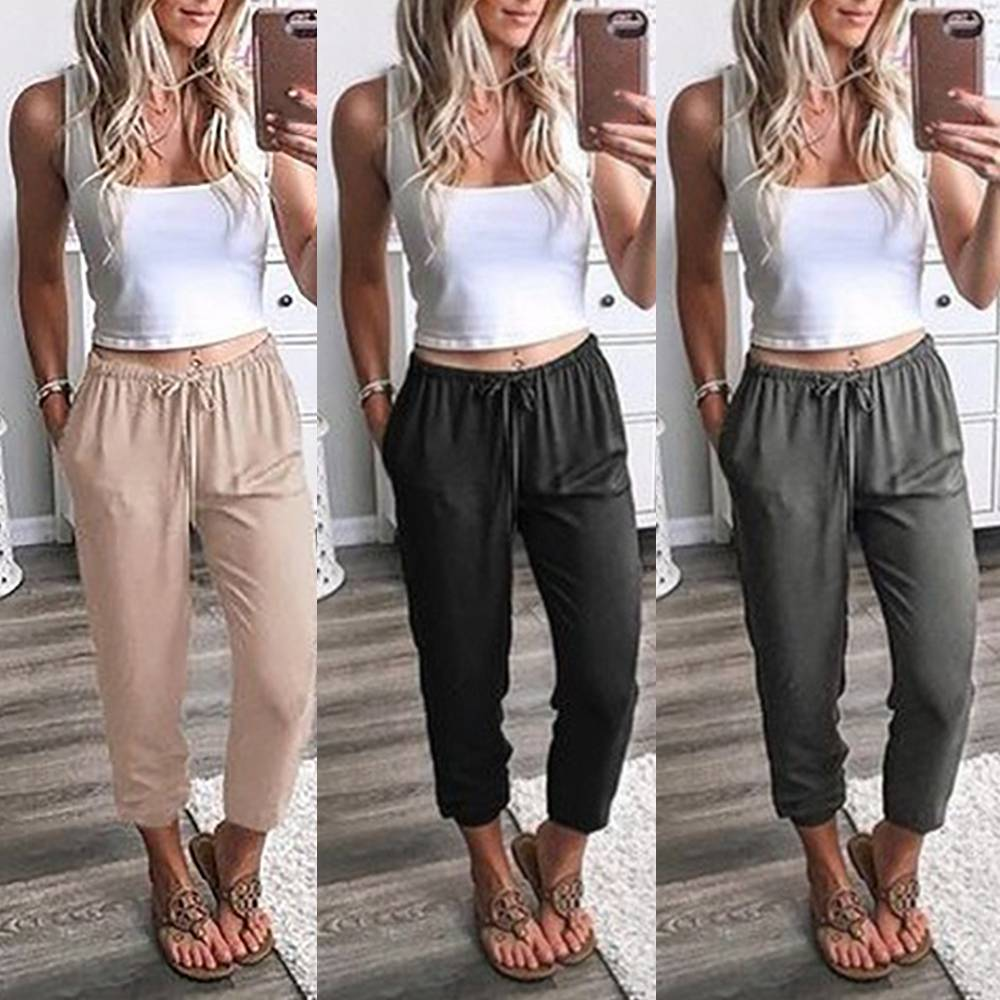 available good selling on sale Ladies Trousers 3/4 Cropped Three Quarter Length Capri Casual ...