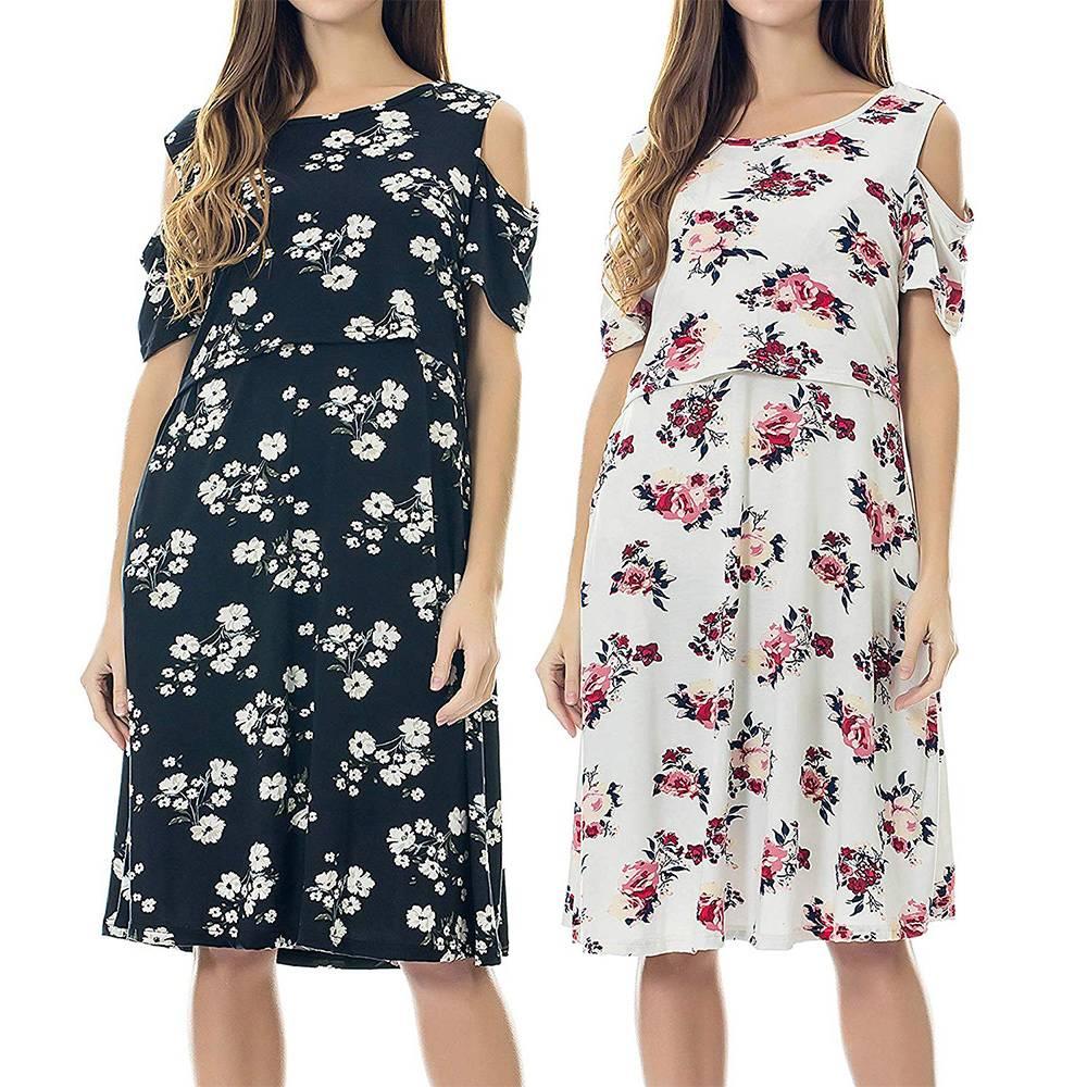 Women Pregnant Women Boho Floral Loose Casual Maternity Nursing Breastfeeding Dress Us Clothing Shoes Accessories Vishawatch Com