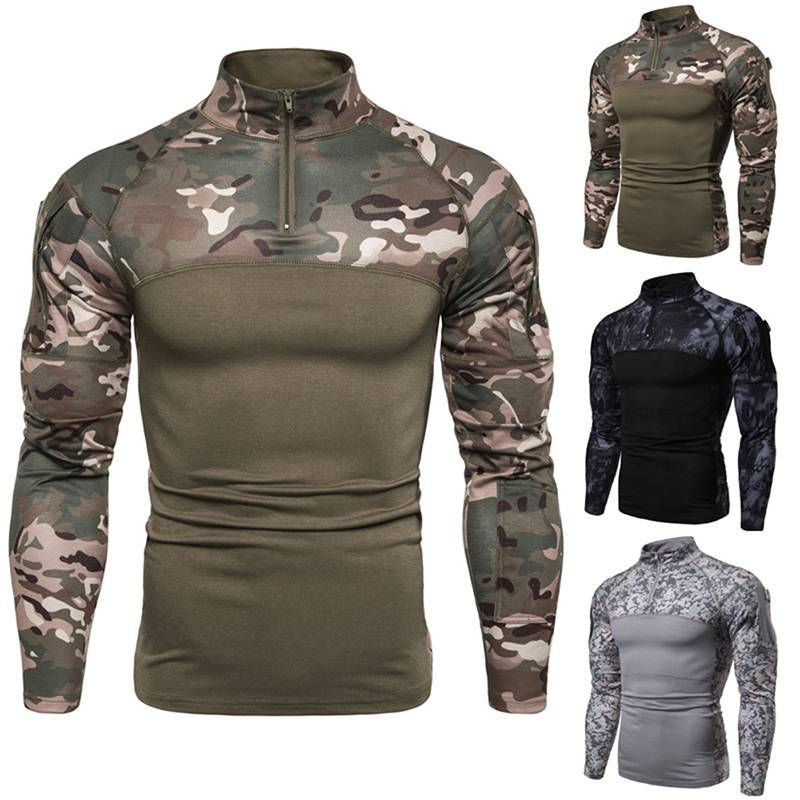 Men/'s T-shirt Long Sleeve Camouflage Gradient Print Sports Fashion Fitness