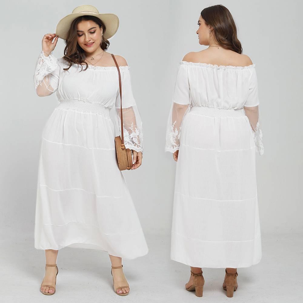 Details About Plus Size Womens Plain Lace Maxi Dress Ladies Bardot Summer Party Long Dress Uk