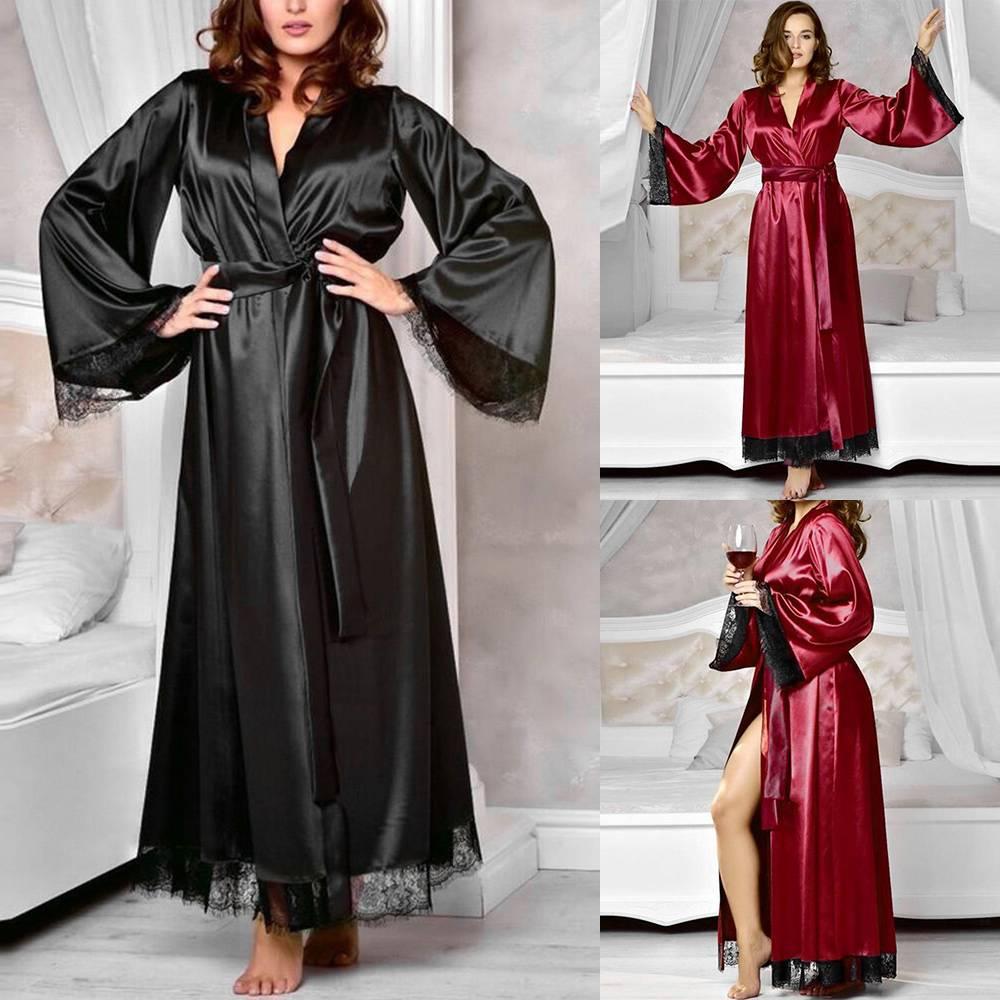 details zu damen kimono edler satin lang robe bademantel nachtwäsche  sleepwear mit gürtel