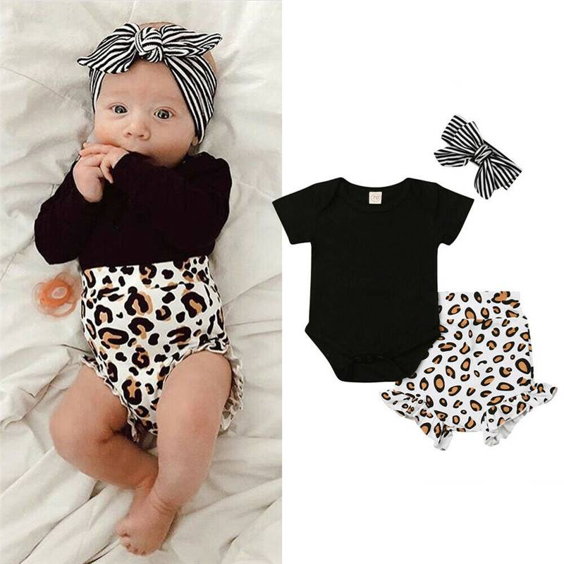 UK Toddler Kids Baby Girl Infant Clothes Leopard Print T-shirt Tops Pants Outfit