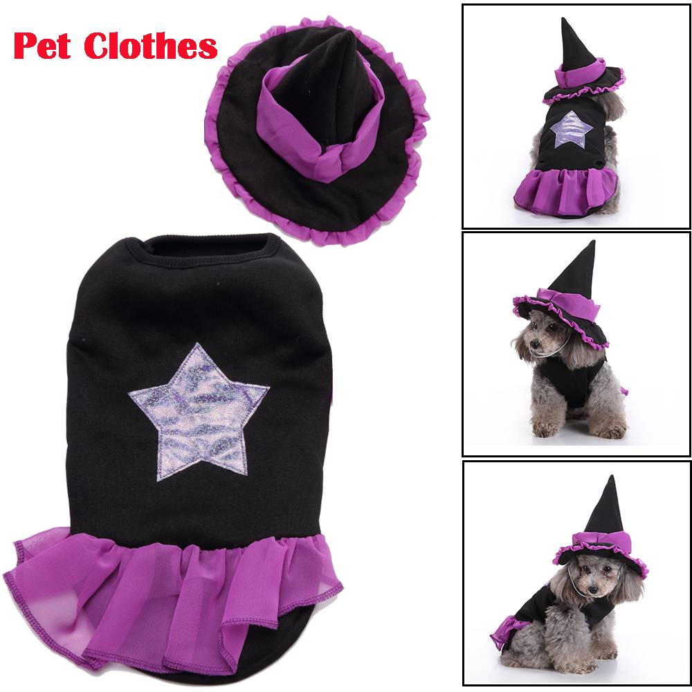 Puppy Pet Dog Halloween Witch Dress Hat Clothes Fancy Party Cosplay Costume UK 14