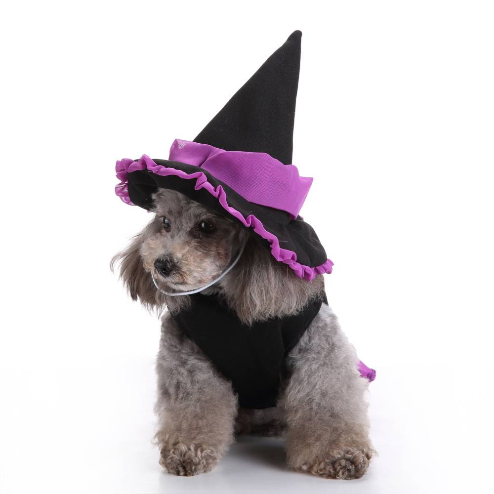 Puppy Pet Dog Halloween Witch Dress Hat Clothes Fancy Party Cosplay Costume UK 19