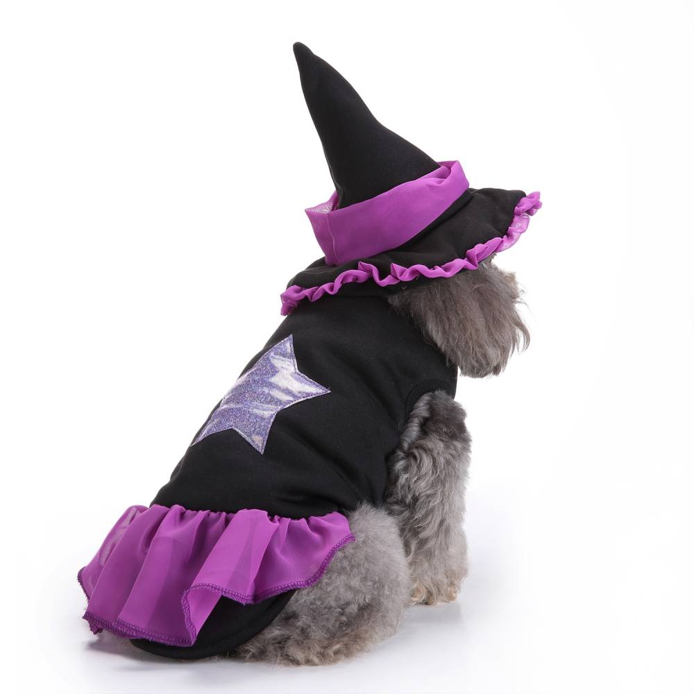 Puppy Pet Dog Halloween Witch Dress Hat Clothes Fancy Party Cosplay Costume UK 26