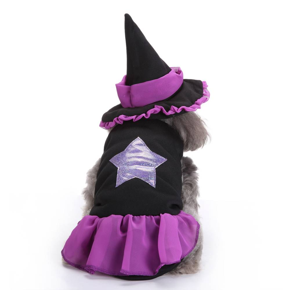 Puppy Pet Dog Halloween Witch Dress Hat Clothes Fancy Party Cosplay Costume UK 22