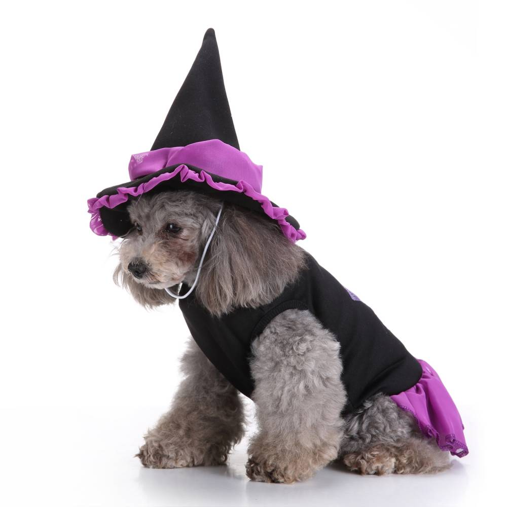 Puppy Pet Dog Halloween Witch Dress Hat Clothes Fancy Party Cosplay Costume UK 25