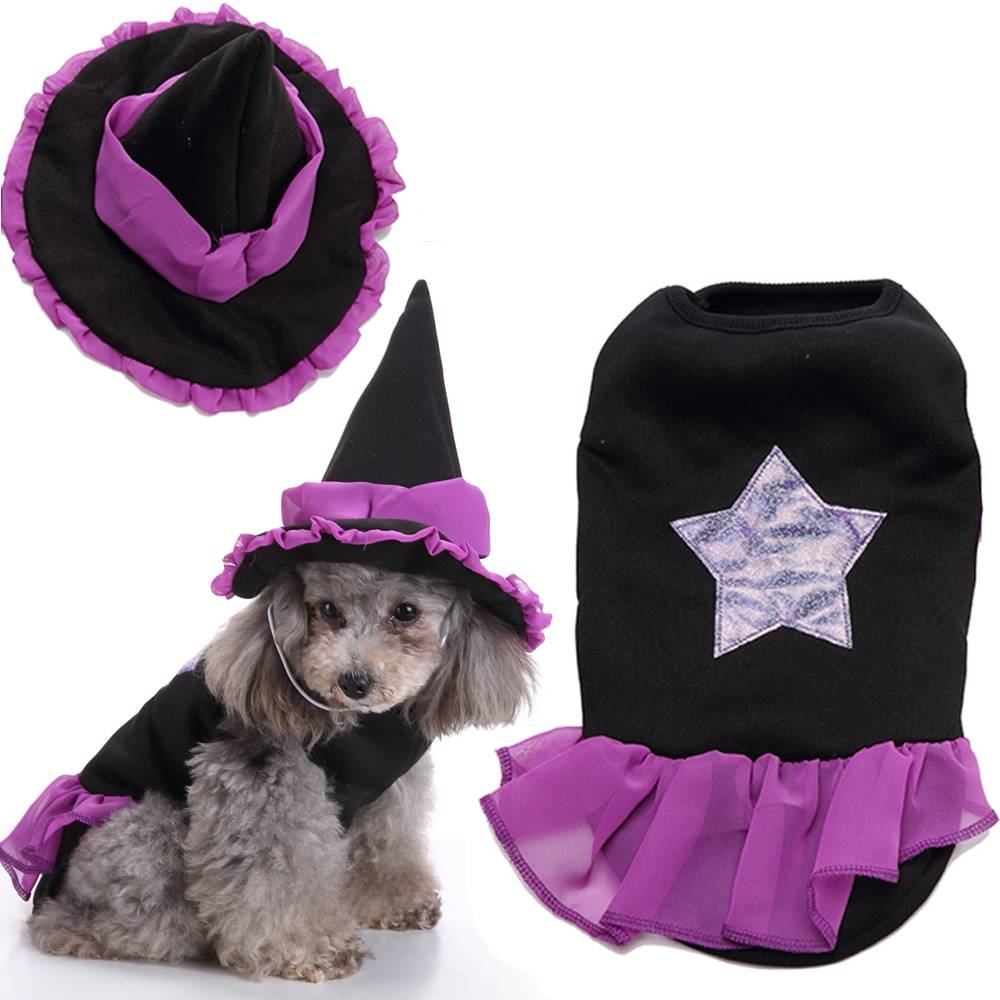 Puppy Pet Dog Halloween Witch Dress Hat Clothes Fancy Party Cosplay Costume UK 15