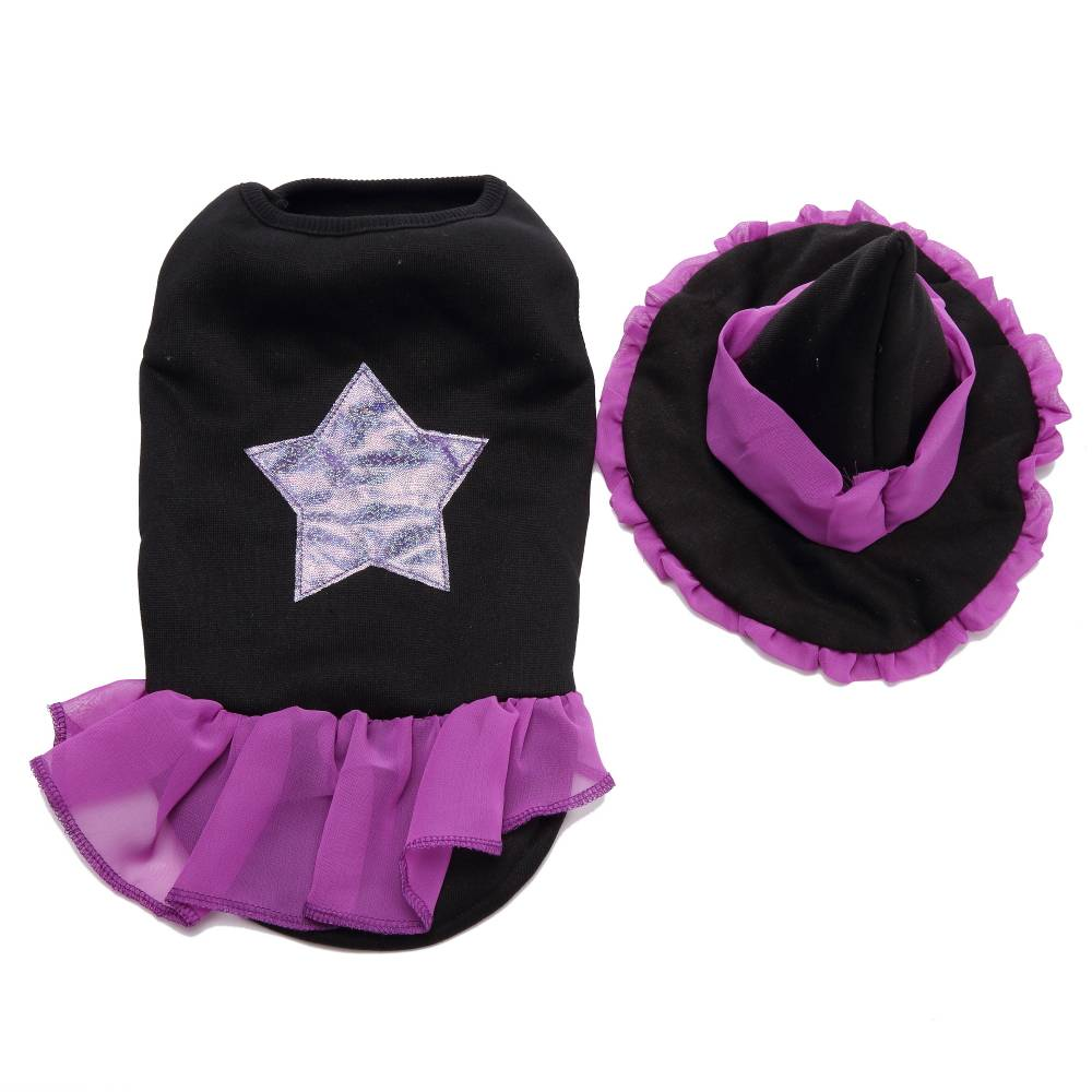 Puppy Pet Dog Halloween Witch Dress Hat Clothes Fancy Party Cosplay Costume UK 18