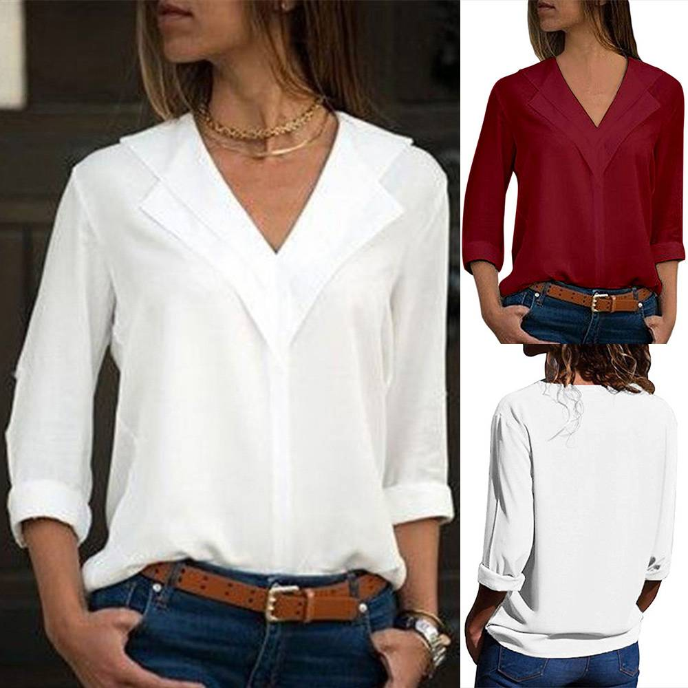 Womens V Neck Chiffon Tops Long Sleeve Summer Loose T-shirt Casual Blouse Tee