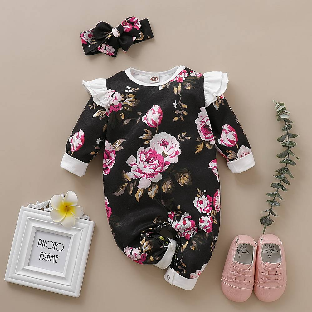 New Newborn Baby Girls Flower Tops Bodysuit Romper Jumpsuit Outfits Kids Clothes