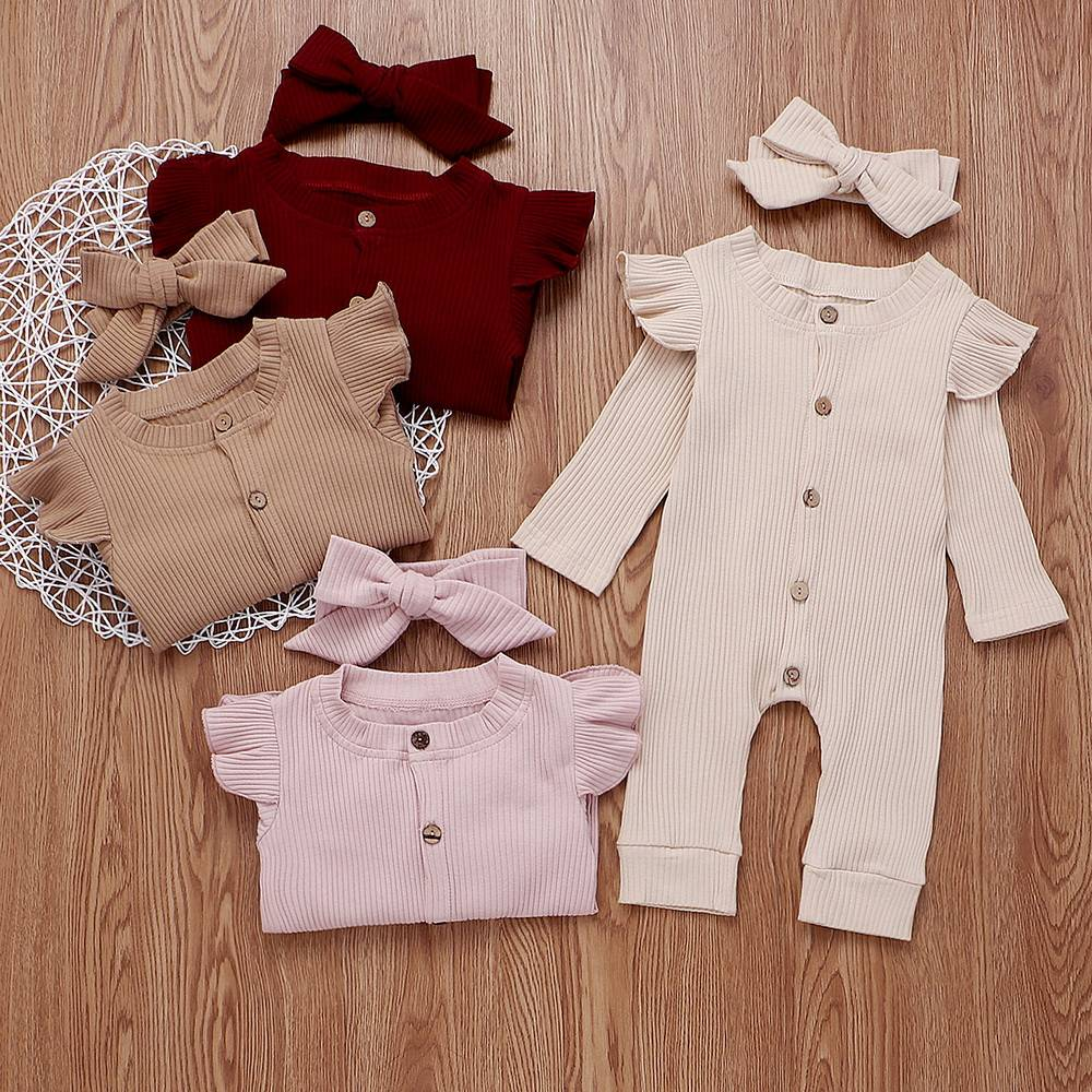UK Newborn Baby Girl Boy 2Pcs Set Autumn Clothes Knitted Romper Jumpsuit Outfits