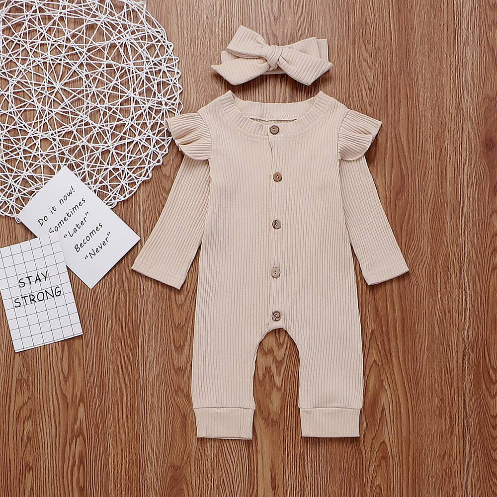 Newborn Baby Girls Ribbed Clothes Cotton Romper Jumpsuit Headband Ruffle Outfits