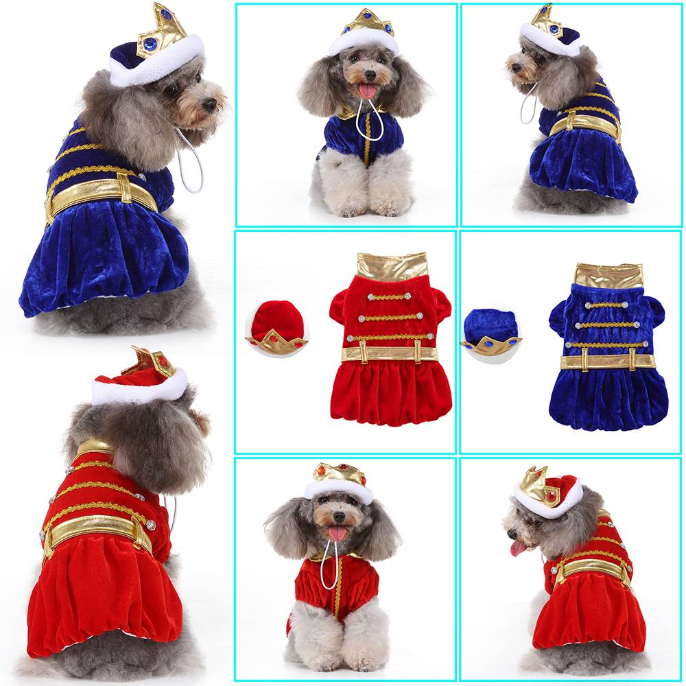 Pet Dog Cat Costume Clothes King Emperor Party Costumes Halloween Dress Outfits 3