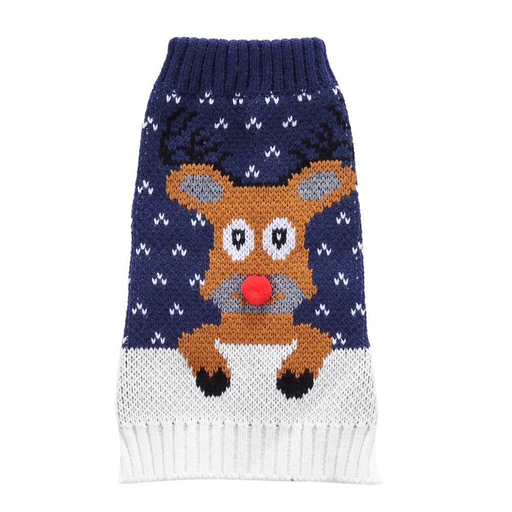 Christmas Pet Dog Puppy Clothes Red Nose Elk Knit Sweater Jumper Pullover Outfit 27