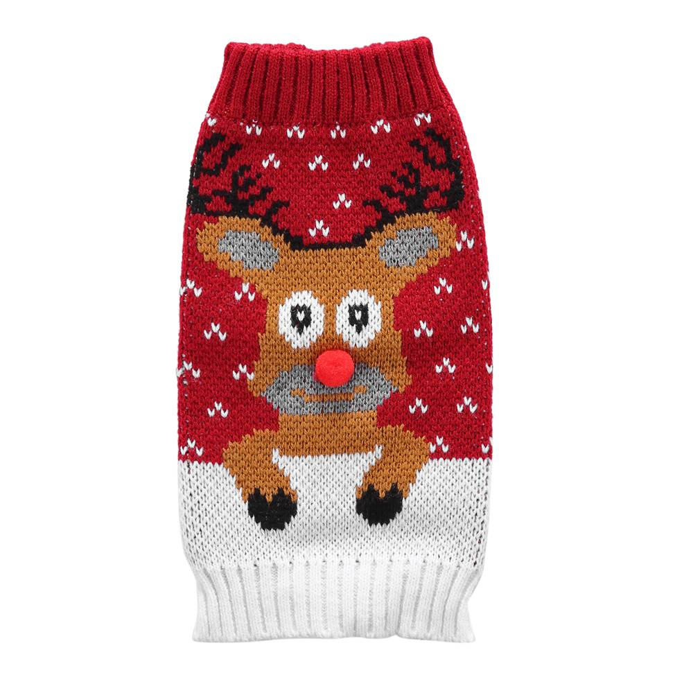 Christmas Pet Dog Puppy Clothes Red Nose Elk Knit Sweater Jumper Pullover Outfit 28