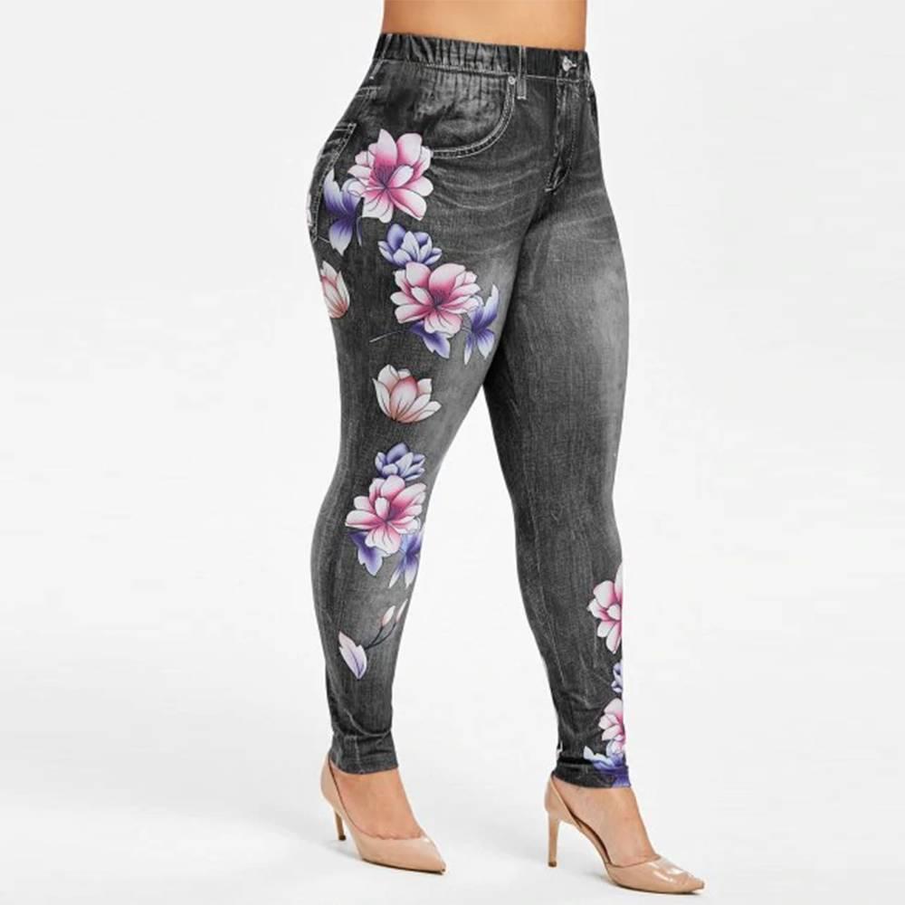 Women Floral Skinny Denim Leggings Ladies Casual High Waist Jeans Pants Trousers