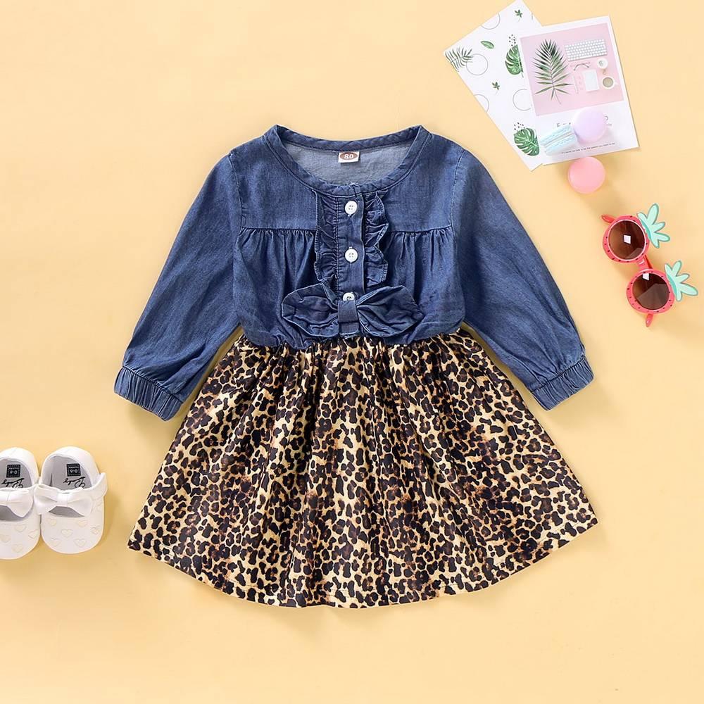 Kid Baby Girls Leopard Print Denim Dress Bow Tutu Party Skirt Pettiskirt Toddler