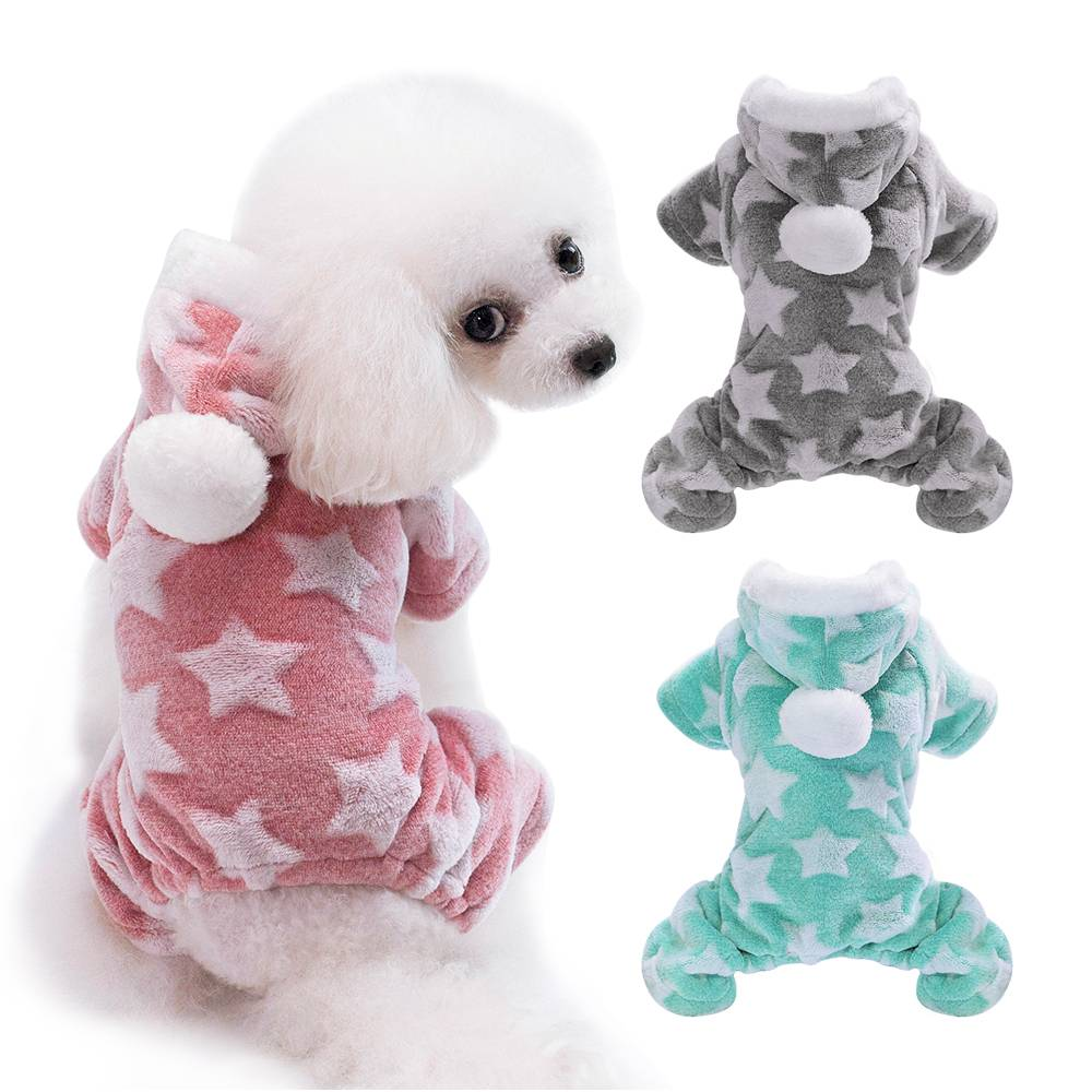 Winter Dog Coats Pet Cat Puppy Chihuahua Clothes Stars Hoodie Warm for Small Dog 7
