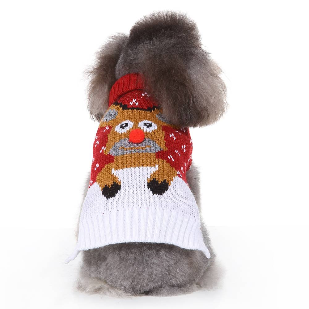 Christmas Pet Dog Puppy Clothes Red Nose Elk Knit Sweater Jumper Pullover Outfit 19
