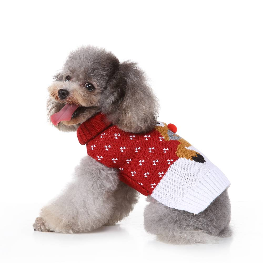 Christmas Pet Dog Puppy Clothes Red Nose Elk Knit Sweater Jumper Pullover Outfit 20