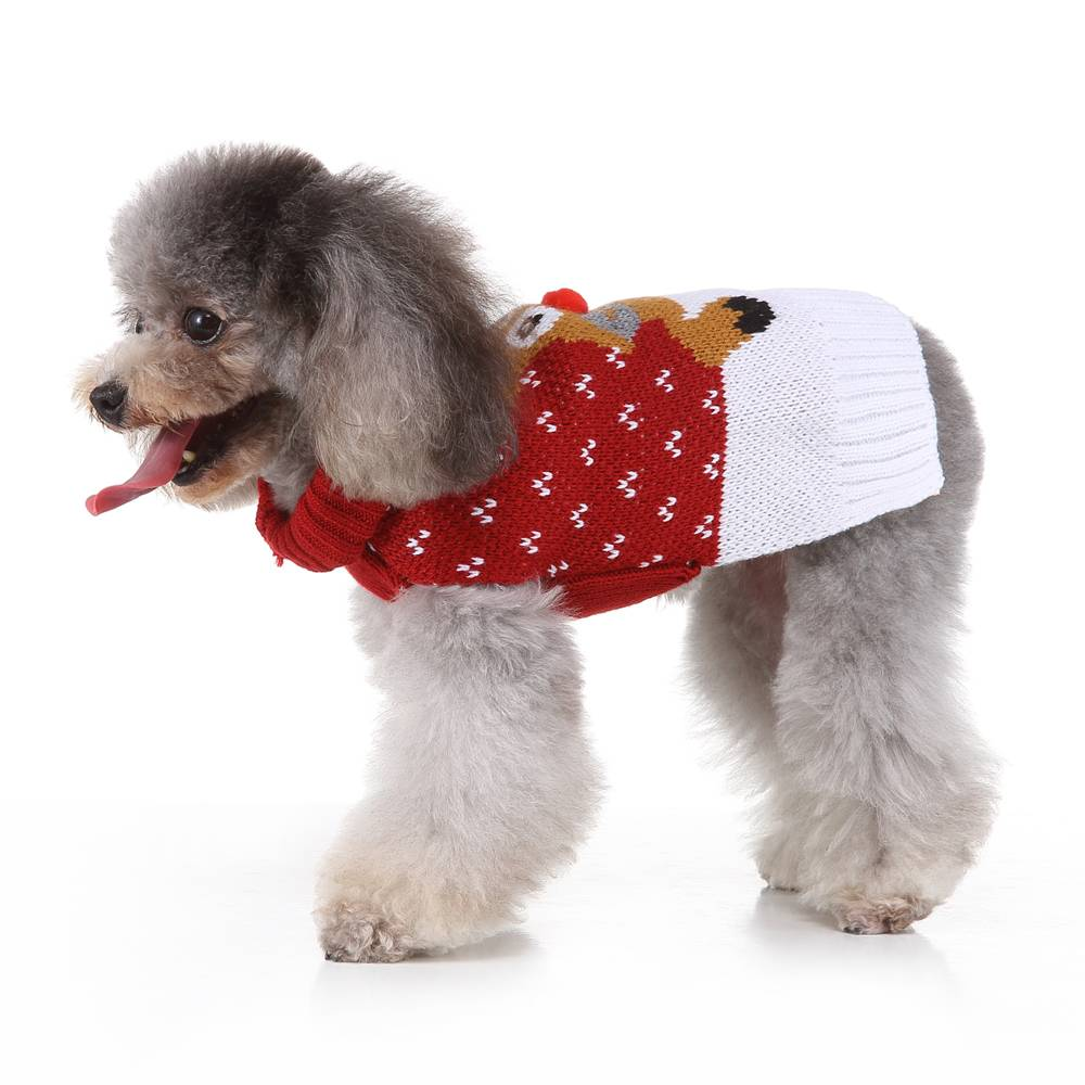 Christmas Pet Dog Puppy Clothes Red Nose Elk Knit Sweater Jumper Pullover Outfit 21